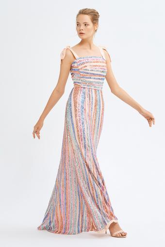 Pembe Volanlı Payet Elbise