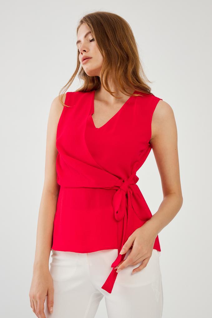 Kırmızı V Yaka Bluz
