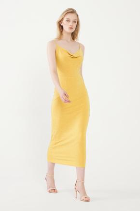Sarı Askılı Elbise