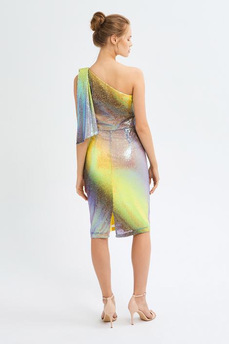 Mor Tek Omuz Elbise