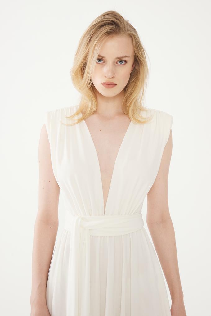 Bej Büzgülü Elbise