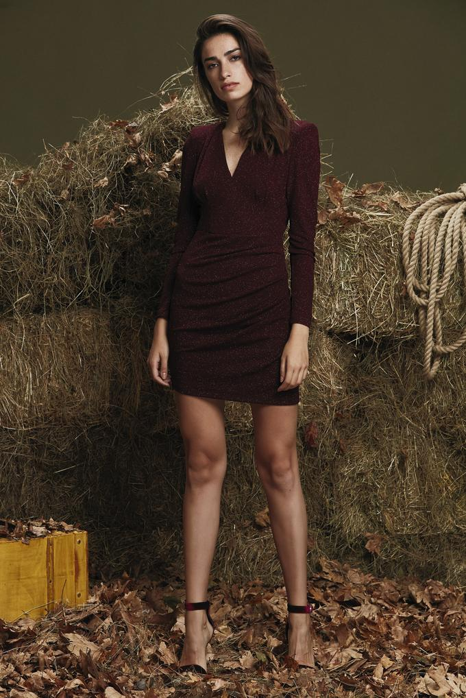 Bordo Uzun Kollu Mini Elbise