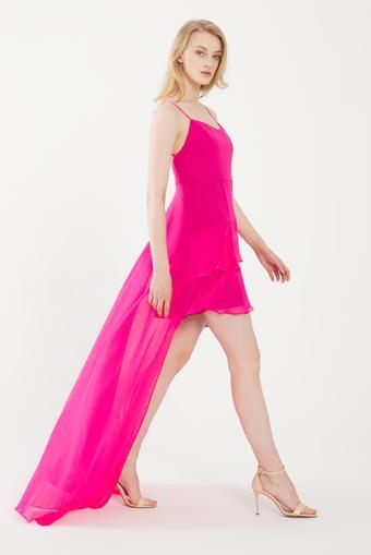 Pembe Volanlı Şifon Elbise