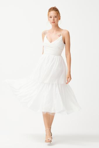 Beyaz Askılı Tül Elbise