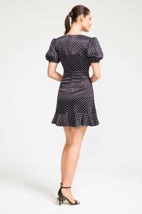 Siyah Balon Kol Mini Elbise
