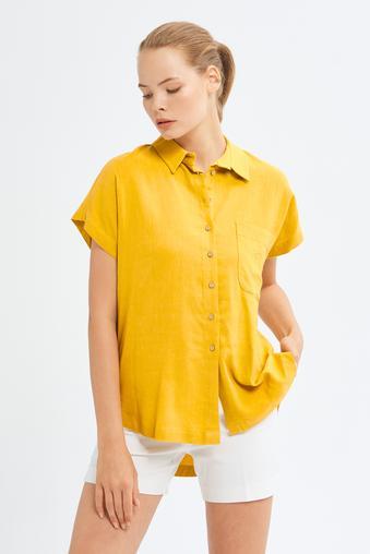 Sarı Erkek Yaka Gömlek