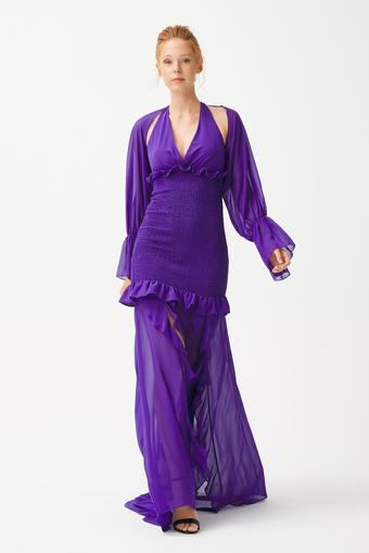Mor Gipe Detaylı Elbise
