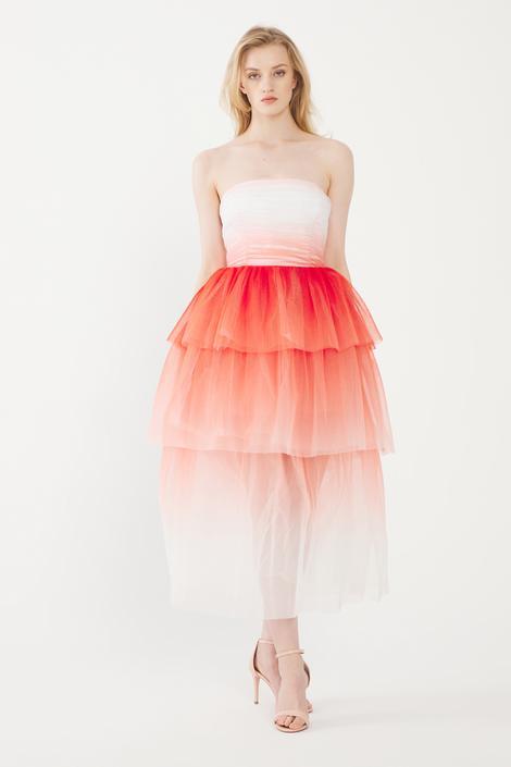 Kırmızı Straplez Tül Elbise