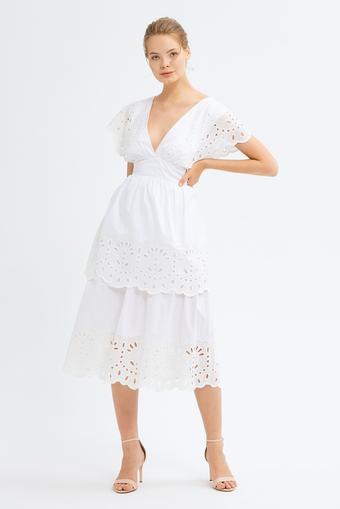 Beyaz V Yaka Elbise