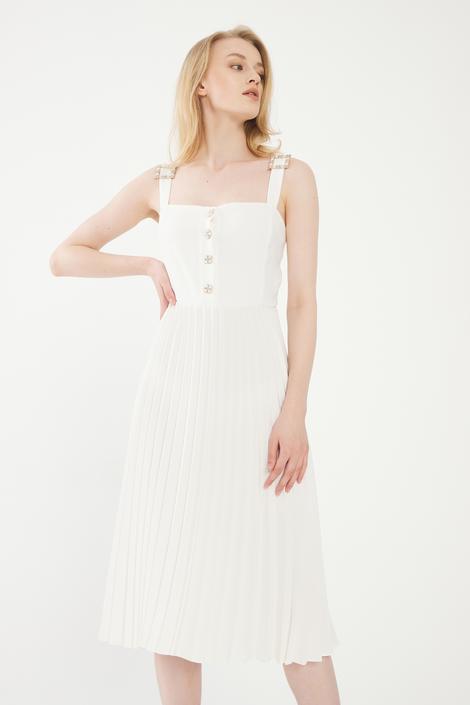 Beyaz Piliseli Elbise