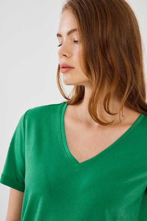 Yeşil V Yaka Duble Kol Tshirt