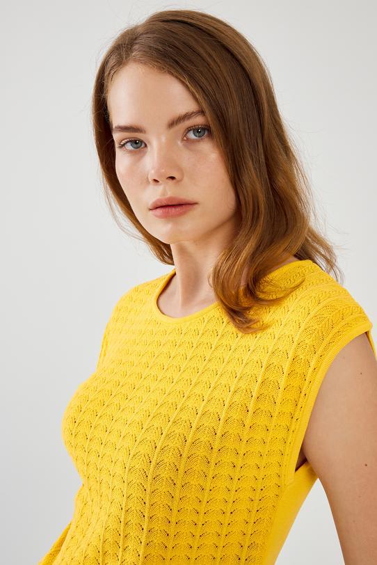 Sarı Ajurlu Triko