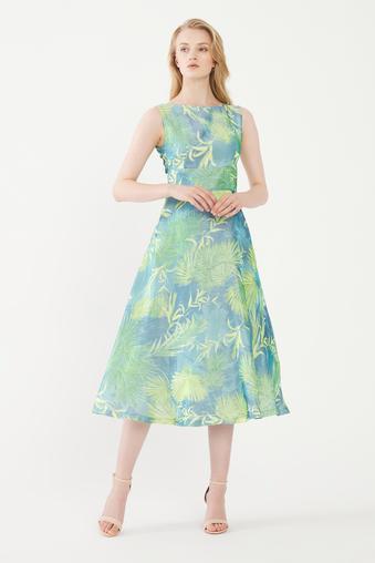 Turkuaz Desenli Elbise