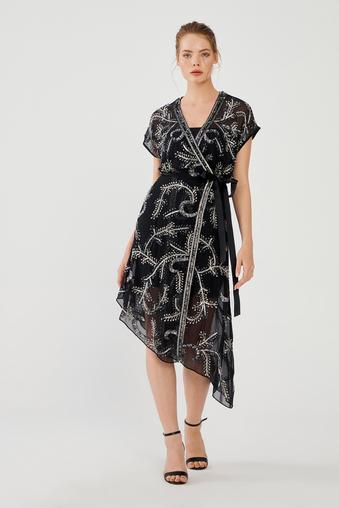 Siyah Kruvaze Elbise