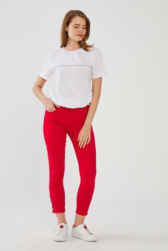 Kırmızı Paça Detaylı Pantolon