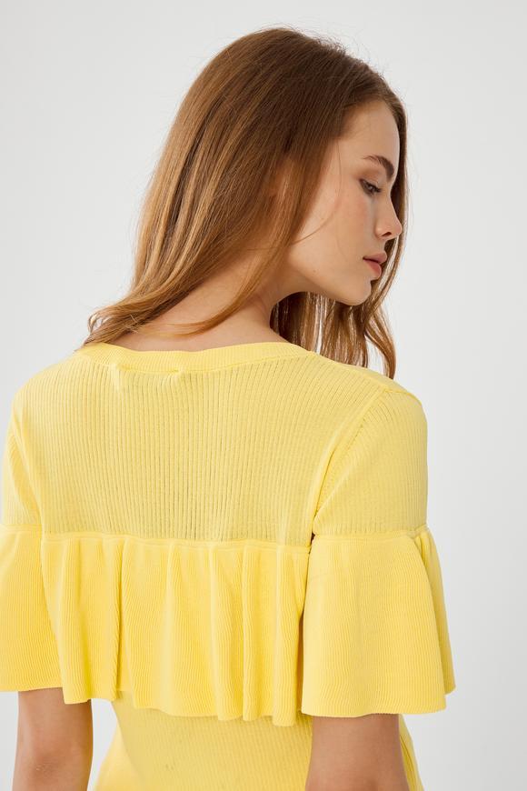 Sarı Fırfırlı Triko