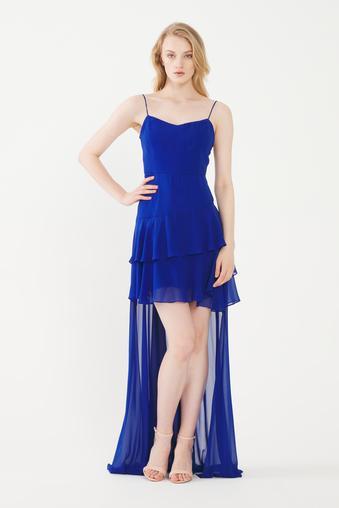 Mavi Volanlı Şifon Elbise