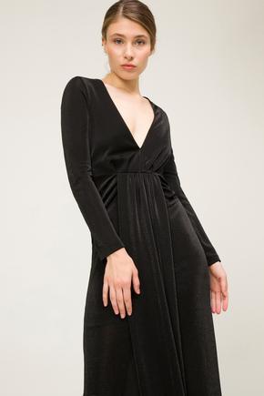 Siyah Önü Büzgülü Elbise