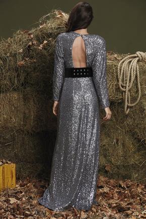 Gri Uzun Kol Payet Elbise