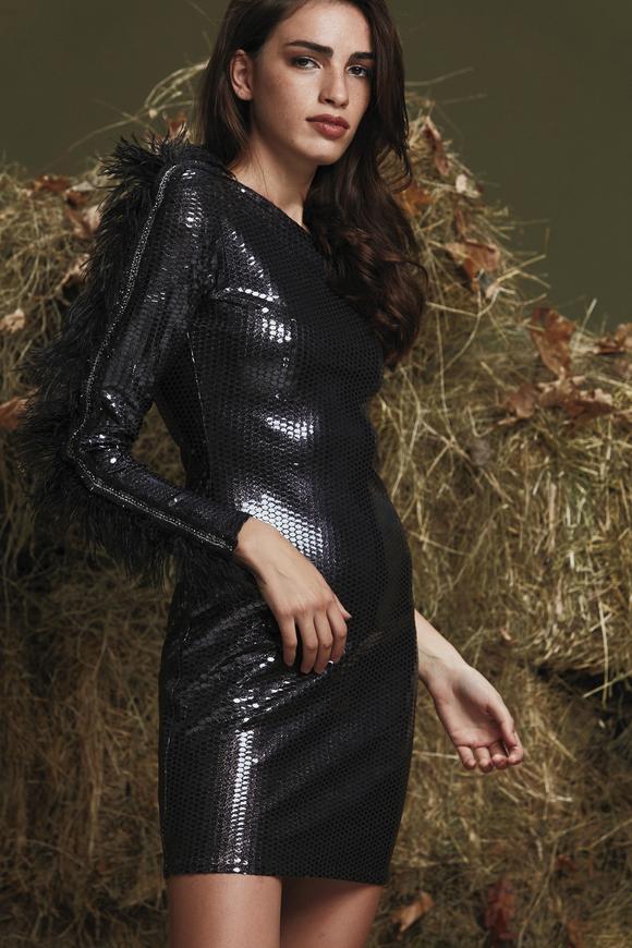 Siyah Tek Kol Mini Elbise