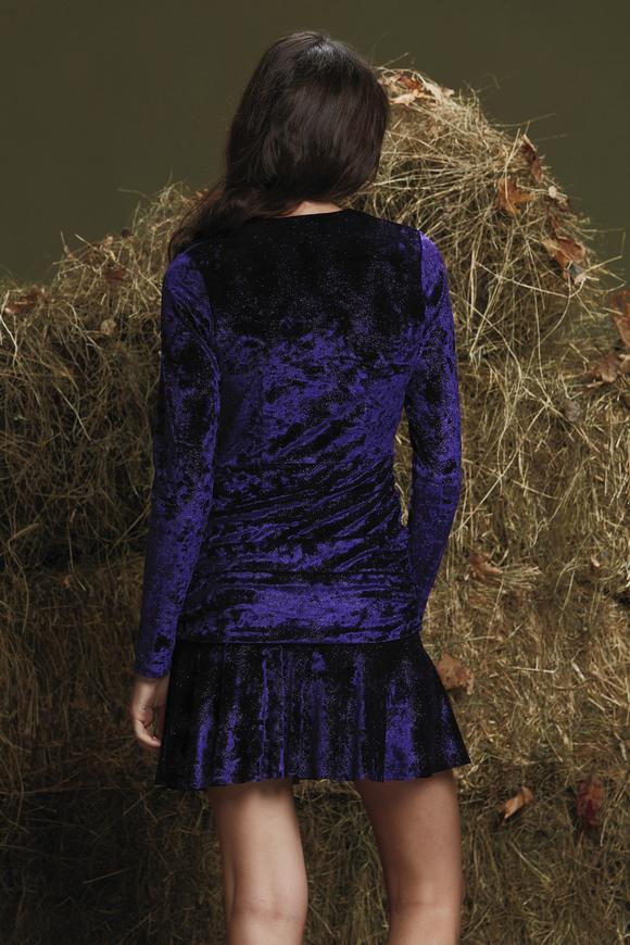 Mor Etek Ucu Volanlı Elbise
