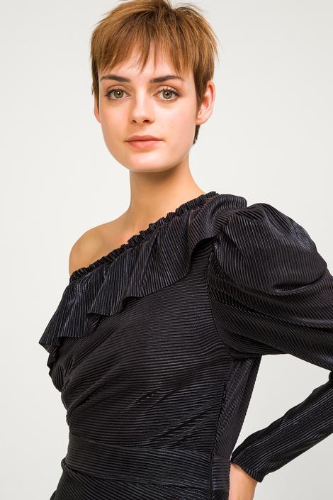 Siyah Tek Kol Fırfırlı Elbise