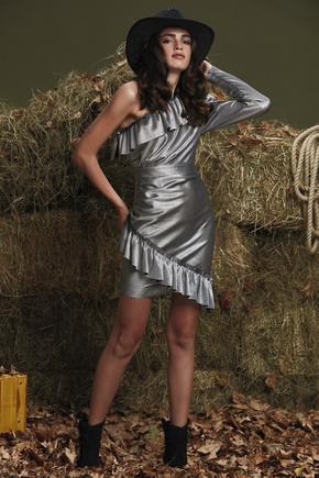 Gri Tek Kol Fırfırlı Elbise