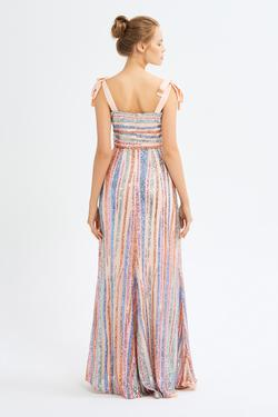 Volanlı Payet Elbise