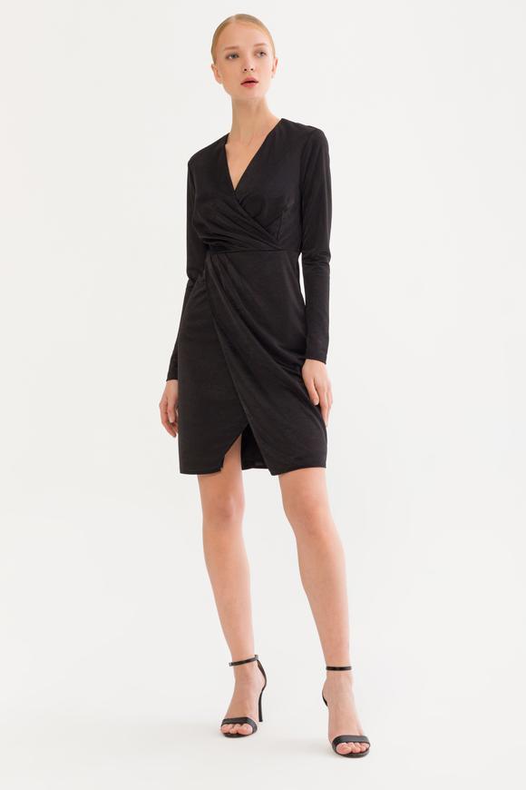 Siyah Kruvaze Kadife Elbise