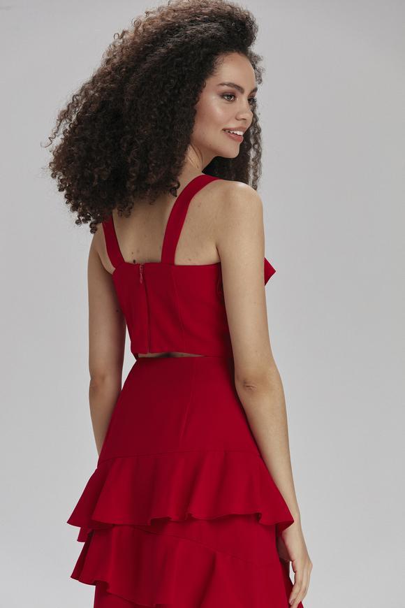 Kırmızı Önü Fırfılı Bluz