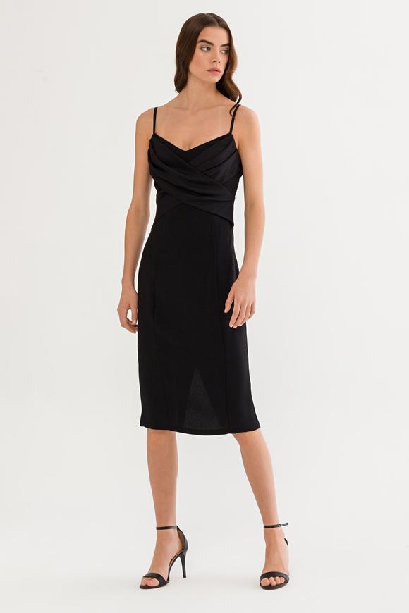 Siyah Askılı Elbise