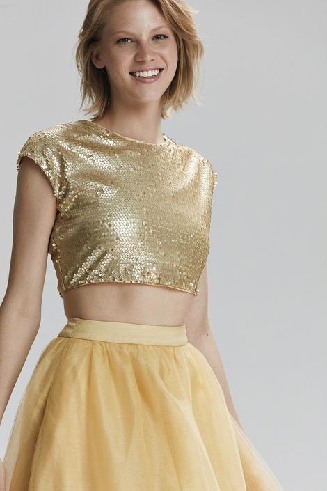 Sarı Düşük Kol Payet Bluz