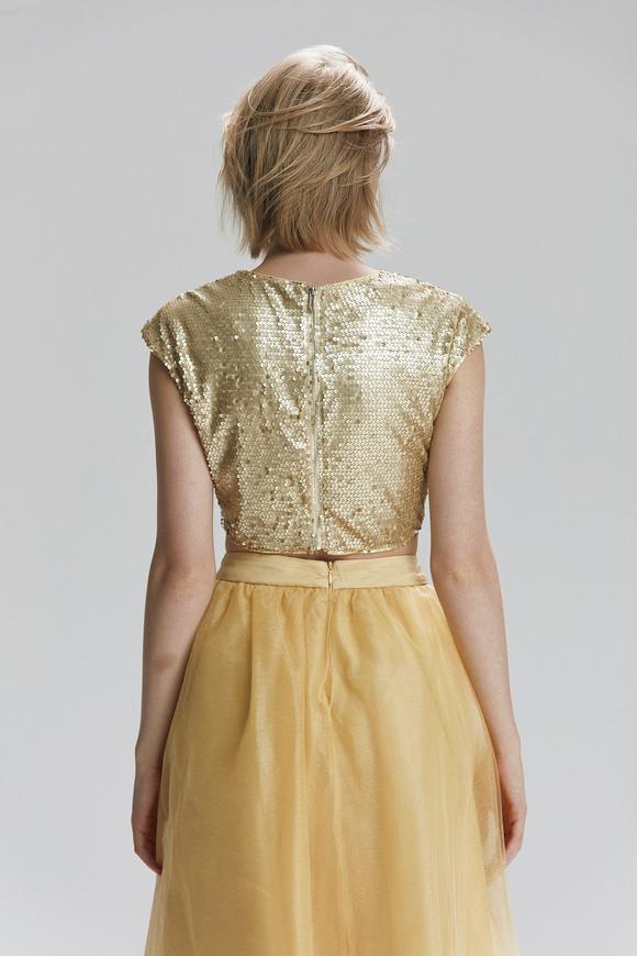 Sarı Düşük Kol Arkası Fermuarlı Payet Crop Bluz
