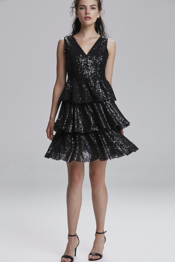 Siyah V Yaka Payet Elbise