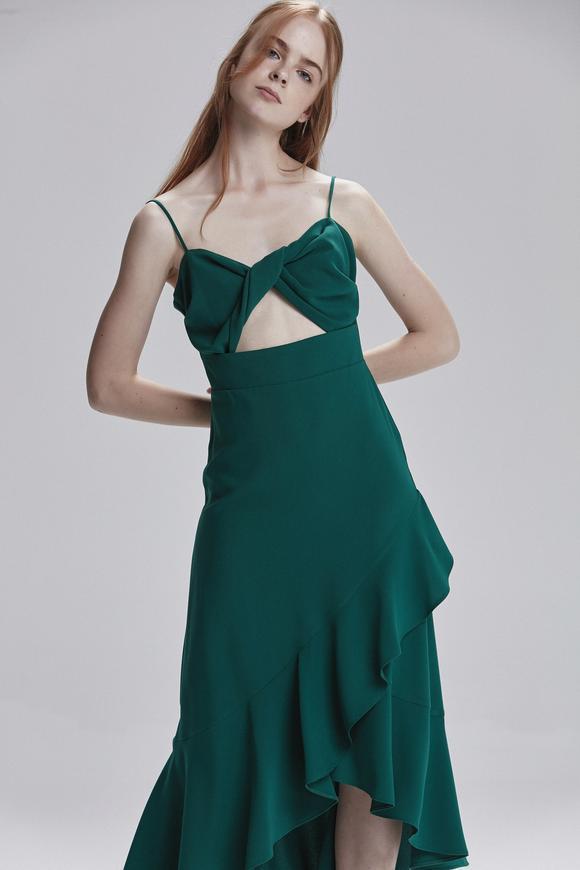 Yeşil Etek Ucu Volanlı  Elbise