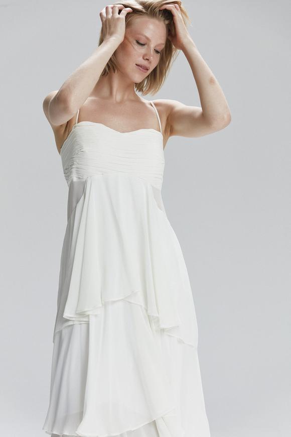 Bej Volanlı Elbise