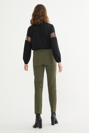 Yeşil Fermuarlı Pantolon
