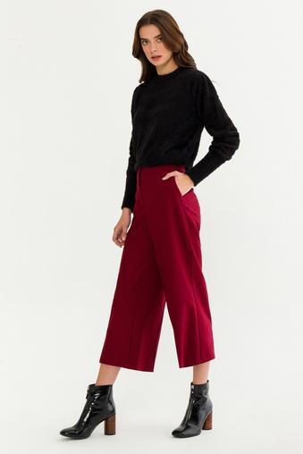 Bordo Ütü İzli Pantolon