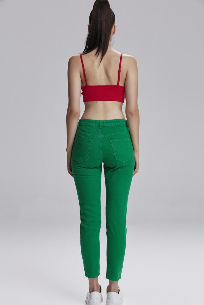 Yeşil Yıpratmalı Pantolon