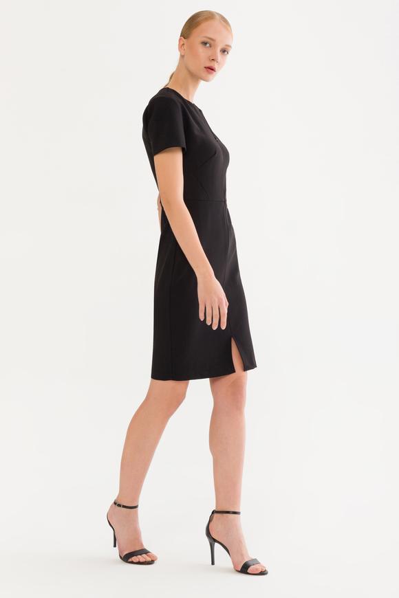 Siyah Düz Dar Elbise