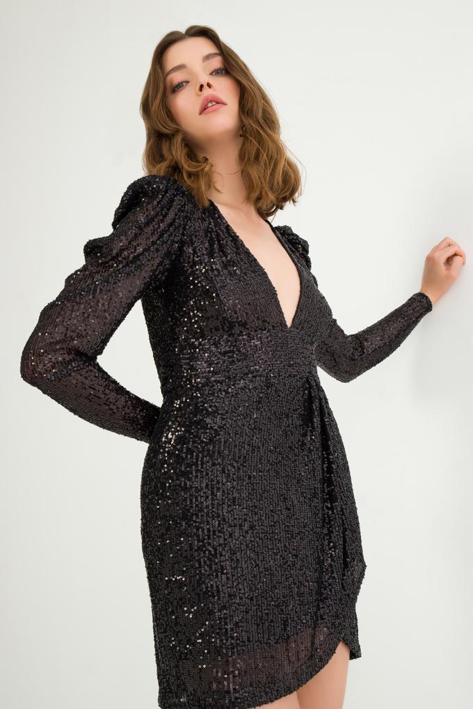 Siyah Uzun Kollu Payet Elbise