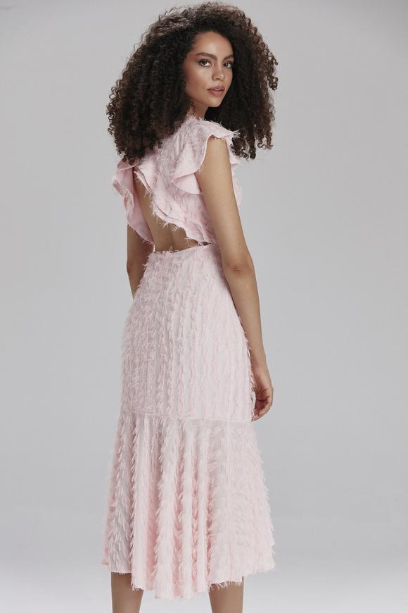 Pembe V Yaka Volanlı Elbise