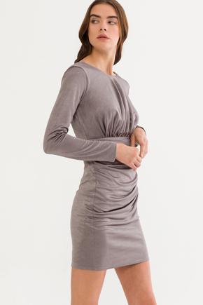 Gri Büzgülü Elbise