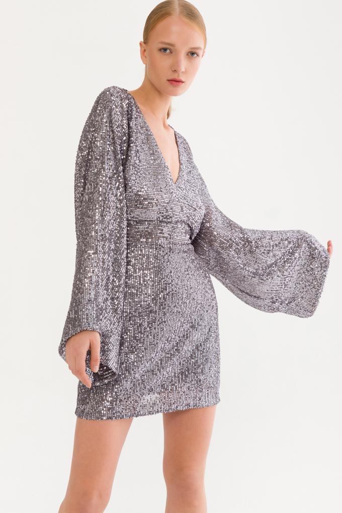 Gri Sırtı Açık Payet Elbise