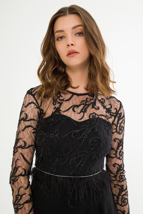 Siyah Tüy Detaylı Elbise