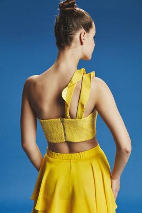 Sarı Volanlı Crop Bluz