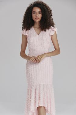 V Yaka Volanlı Elbise