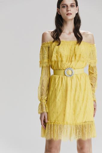 Sarı Uzun Kol Dantel Elbise