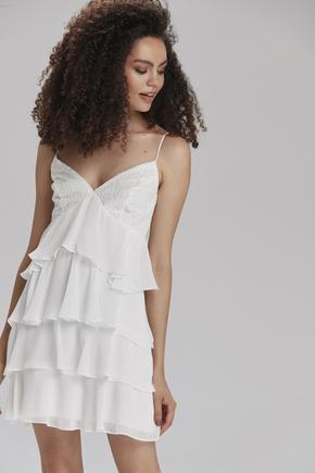 Beyaz İp Askılı Fırfırlıi Elbise