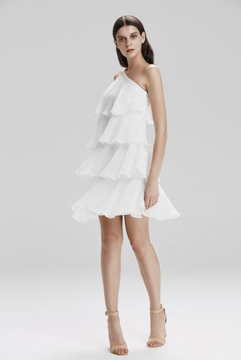 Beyaz Tek Omuzlu Mini Elbise